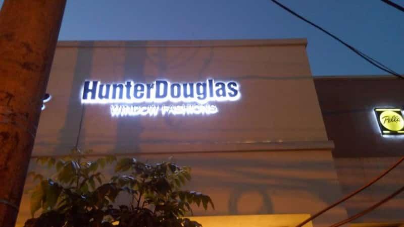 hunter douglas  acrylic signage store signs