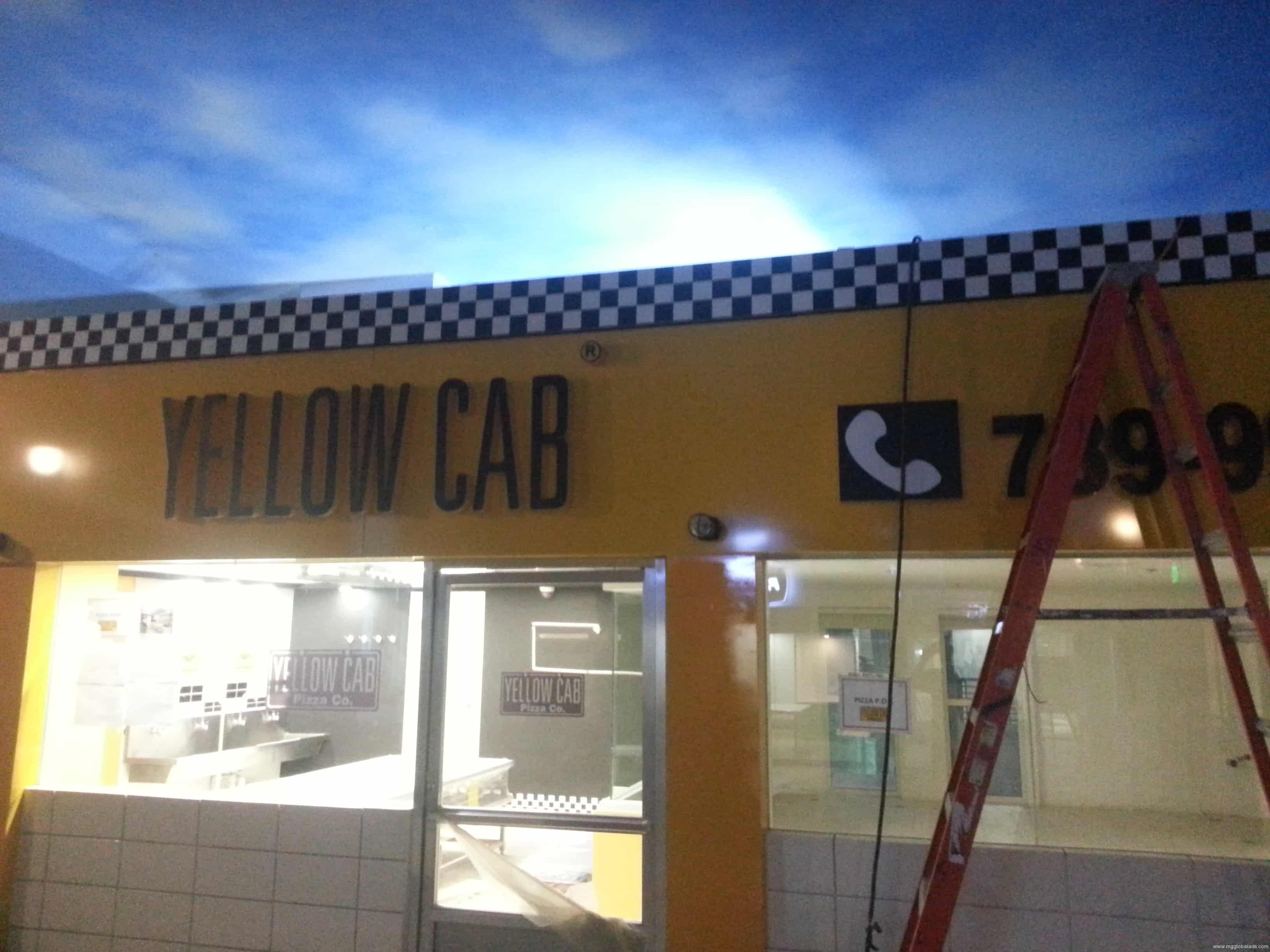 Yellow Cab  restaurant signage  acrylic signage
