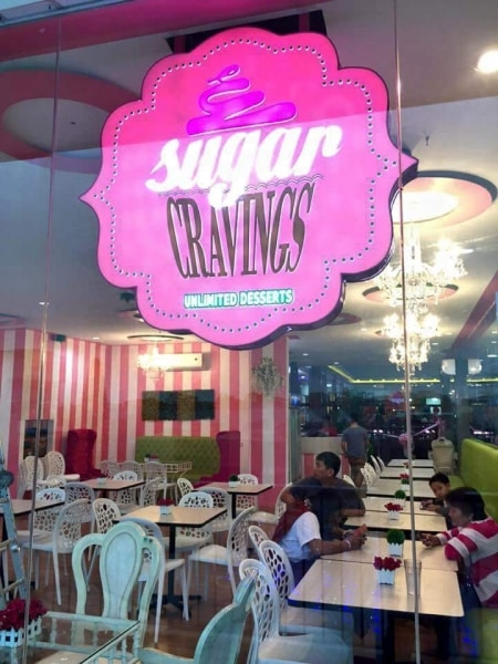 acrylic signage for sugar craving| acrylic signage|restaurant signage