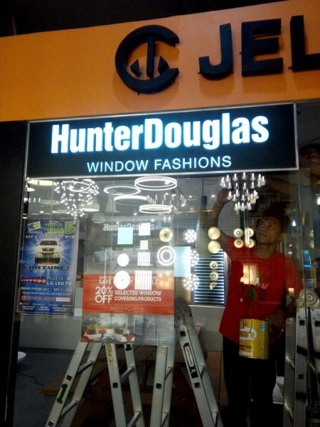 acrylic signage  hunter douglas