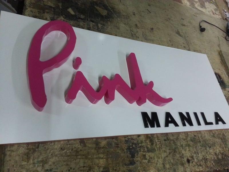 acrylic signage  pink manila
