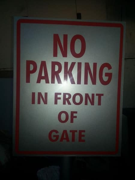 no parking sign|photo luminescent sign |directional signs