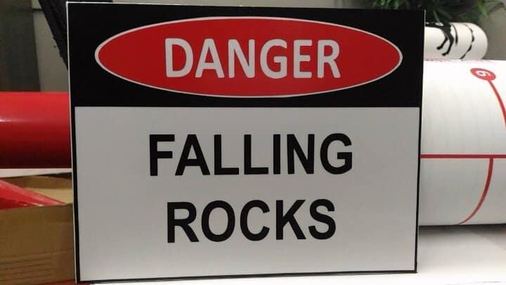 photoluminescent signs falling rocks