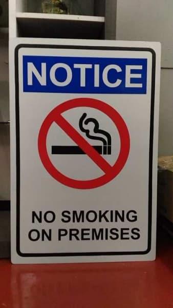 photoluminescent signs no smoking