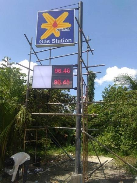 gas station acrylic signage
