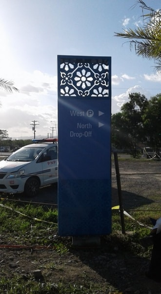 pylon post-acrylic signage