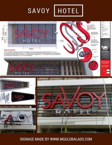 hotel signage - stainless signage