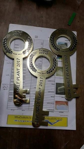 brass key engrave