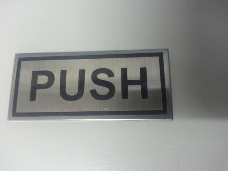 push stainless signs | engraving