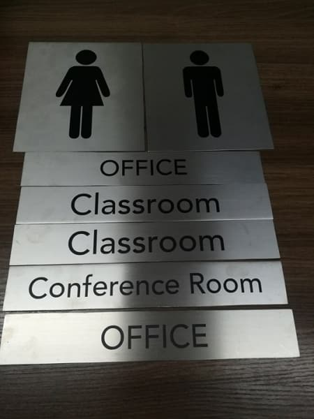 stainless comfort room sign